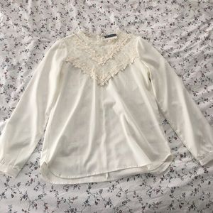 Tops - White Blouse Lace Neck
